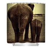 Mother And Baby Elephant In Black And White Shower Curtain