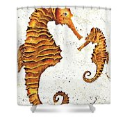 Mother And Baby Seahorse Shower Curtain