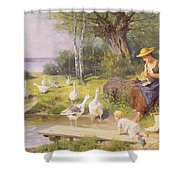 Mother And Child With Geese Shower Curtain