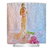 Mother And Child With Pink Tulips Shower Curtain