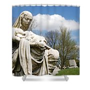 Mother And Children Shower Curtain by Jennifer Ancker