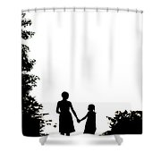 Mother And Daughter Holding Hands Shower Curtain