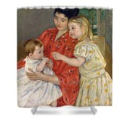 Mother And Sara Admiring The Baby Shower Curtain by Marry Cassatt