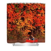 Mother And Son Canoeing Near Fall Shower Curtain