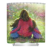 Mother And Twin Girls In Garden Shower Curtain