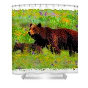 Mother Bear And Cub In Meadow Shower Curtain