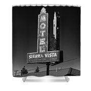 Mother Road Motel Black And White Shower Curtain