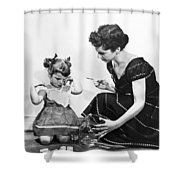Mother Scolding Tearful Child Shower Curtain