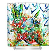 Motor Demon With Bats Shower Curtain by Fabrizio Cassetta