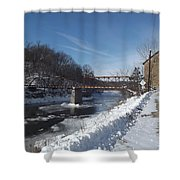 Motor Mill In Winter Shower Curtain