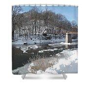 Motor Mill Winter Pano Shower Curtain