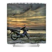 Motorbike At Sunset Shower Curtain