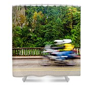 Motorcycle And Green Forest Shower Curtain