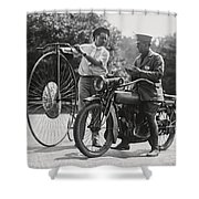 Motorcycle And Velocipede - 1921 Shower Curtain