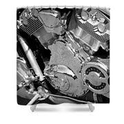 Motorcycle Close-up Bw 2 Shower Curtain