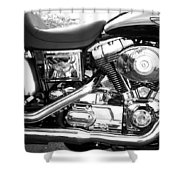 Motorcycle Close-up Bw 3 Shower Curtain