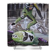 Kawasaki Motorcycle Crash Shower Curtain