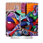 Motorcycle Mama Shower Curtain by Anthony Falbo