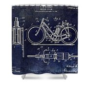 1903 Motorcycle Patent Blue Shower Curtain