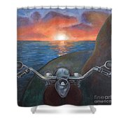 Motorcycle Sunset Shower Curtain