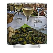 Moules And Chardonnay Shower Curtain by Allen Sheffield