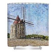 Moulin De Daudet Fontvieille France On A Texture Dsc01833 Shower Curtain