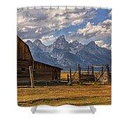 Moulton Barn Panorama - Grand Teton National Park Wyoming Shower Curtain