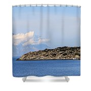Mount Athos In Clouds View From Sithonia Greece Shower Curtain