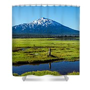 Mount Bachelor And Meadow Shower Curtain