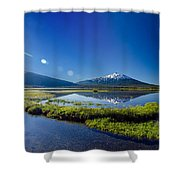 Mount Bachelor Lens Flare Shower Curtain
