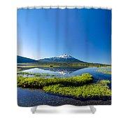 Mount Bachelor Vertical Reflection Shower Curtain