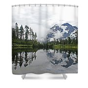 Mount Baker- Lake- Fir Trees And  Fog Shower Curtain