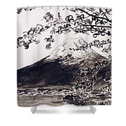 Mount Fuji Spring Blossoms Shower Curtain