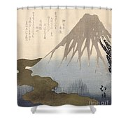 Mount Fuji Under The Snow Shower Curtain by Toyota Hokkei