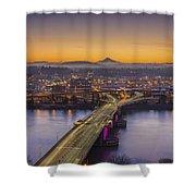 Mount Hood And Morrison Bridge Shower Curtain