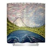 Mount Hood Night Sky Shower Curtain
