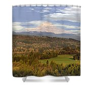 Mount Hood Over Sandy River Valley Shower Curtain