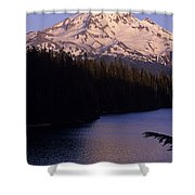Mount Hood With Kids In Row Boat Silhouetted Shower Curtain