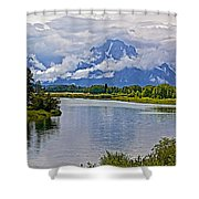 Mount Moran From Oxbow Bend N Grand Teton National Park-wyoming Shower Curtain