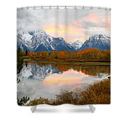 Mount Moran Reflection Sunset Shower Curtain