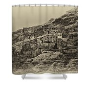 Mount Of The Temptation Monestary Jericho Israel Antiqued Shower Curtain