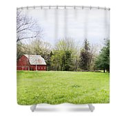 Mount Pleasant Red Barn Shower Curtain by Cricket Hackmann