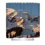 Mount Rainier Alpenglow Shower Curtain