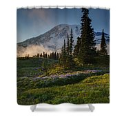 Mount Rainier Evening Fog Shower Curtain
