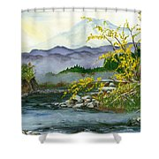 Mount Rainier From Carbon River Shower Curtain
