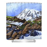 Mount Rainier From Edith Creek Shower Curtain