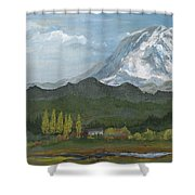 Mount Rainier From Lake Rap John  Shower Curtain