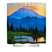 Mount Rainier Goodnight Shower Curtain by Inge Johnsson