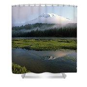 Mount Rainier Shrouded In Fog Shower Curtain