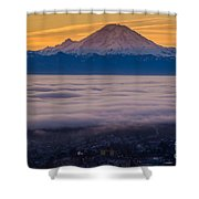 Mount Rainier Sunrise Mood Shower Curtain